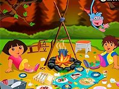 Игра Даша убирает в лесном лагере