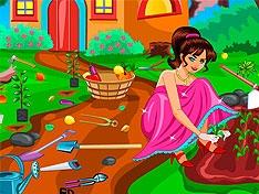 Игра Барби убирается в саду