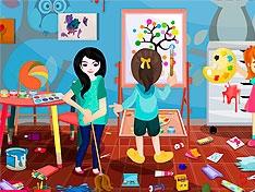 Игра Уборка в комнате юных художников